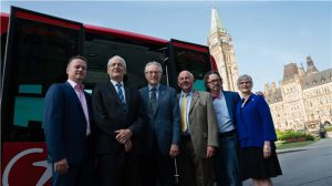 Left to Right: TRANSDEV CEO Dominique Lemay; Minister of Transport Marc Garneau; Senator Eggleton; Senator Terry Mercer; Senator Dennis Dawson; Senator Patricia Bovey
