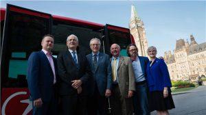 Left to Right: TRANSDEV CEO Dominique Lemay; Minister of Transport Marc Garneau; Senator Eggleton; Senator Terry Mercer; Senator Dennis Dawson; Senator Patricia Bovey